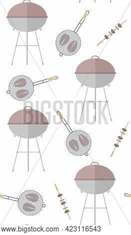 Seamless Vector Pattern With Barbeque, Fish And Mushrooms On A White Background. Perfect For Wallpap