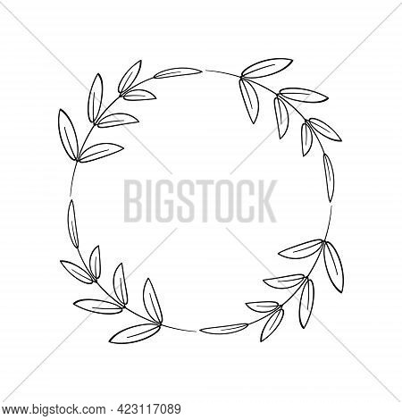 Laurel Wreath Of Four Branches With Leaves. Simple Frame For Logo, Tags, Farmhouse Decorations. Flor