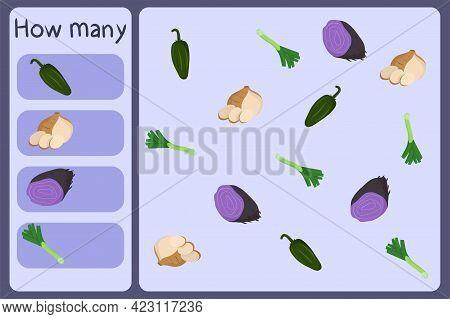 Kids Mathematical Mini Game - Count How Many Vegetables - Jalapeno, Jicama, Ube, Leek. Educational G