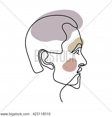 Abstract Portrait Of A Man. One Line Drawing. Male Handsome Profile, Fashionable Hairstyle, Beard, M