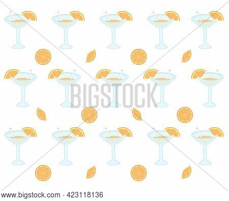 A Pattern Of Cosmopolitan Cocktails And Oranges