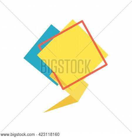 Yellow Speech Bubble And Red Rhombus Frame In Flat. Memphis Style Banner With Abstract Geometric Sha