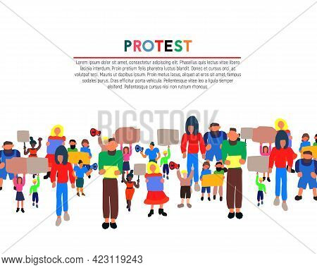 Protesters People On A White Background. Revolution Vector Illustration. Workers Street Protest