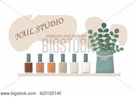 Multi-colored Nail Polish In Nude Shades. Shelf With Nail Polish In Different Colors And Decorative