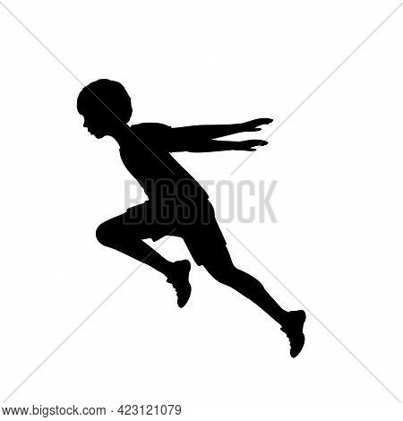 Silhouette Boy Running Hands Back. Illustration Graphics Icon
