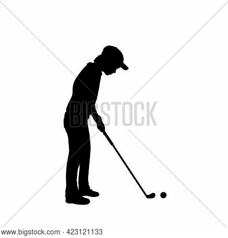 Silhouette Boy Playing Golf Sport. Illustration Graphics Icon