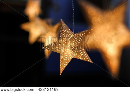 Decorations For The Holiday. White Paper Stars.background For Christmas And New Year Holidays. Paper