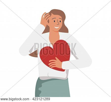 Happy Woman Hugging Herself. Positive Lady Expressing Self Love And Care. Vector Illustration For Lo