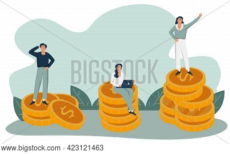 Rich And Poor People With Different Salary, Income Or Career Growth Unfair Opportunity. Concept Of F