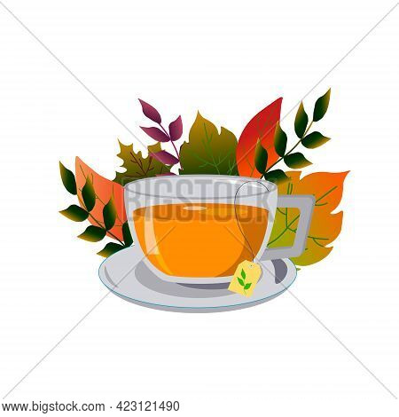 A Cup Of Tea Surrounded By Autumn Leaves. Hello, Autumn. Vector Illustration. For Creating Decor In