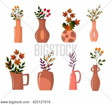 Set Of Vases With Autumn Leaves. Clay Decorative Vases For The Interior. Vector Illustration. For Cr