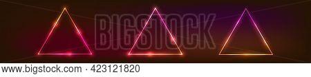 Set Of Three Neon Triangular Frames With Shining Effects On Dark Background. Empty Glowing Techno Ba