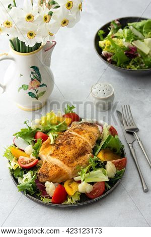 Chicken Breast Baked With Salad