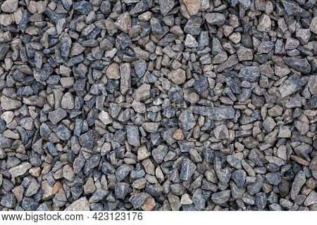 Brick Rubble Debris On Construction Site. Inorganic Crushed Stone, Non-round, Loose Material With Gr