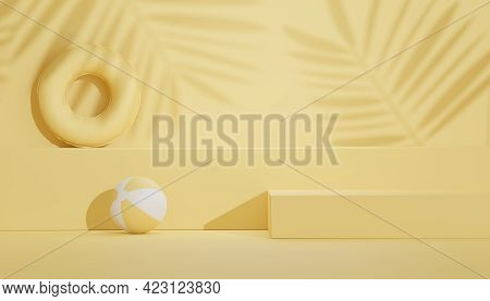 3d Render Of Minimal Display Podium With Summer Season Background Concept. Minimalist Pedestal.