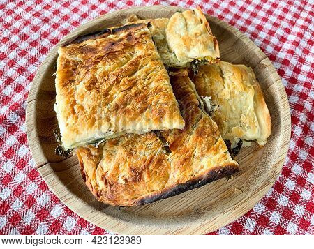 Albanian Traditional Food Fresh Vegetables And Home Made Pie.