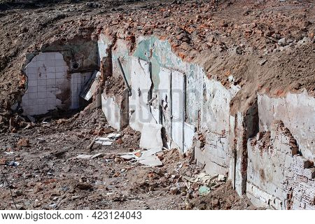 Ruin Of A Partly Demolished Apartment Building Ground Floor
