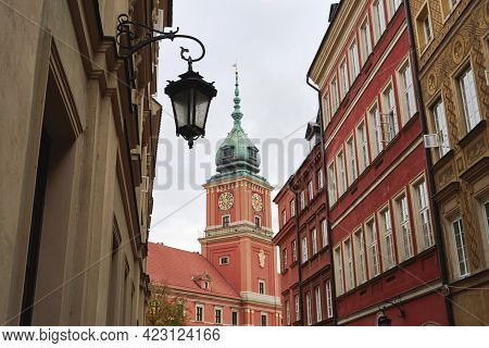 View Of Royal Castle From Old Street In Warsaw, Poland. Architecture Details.