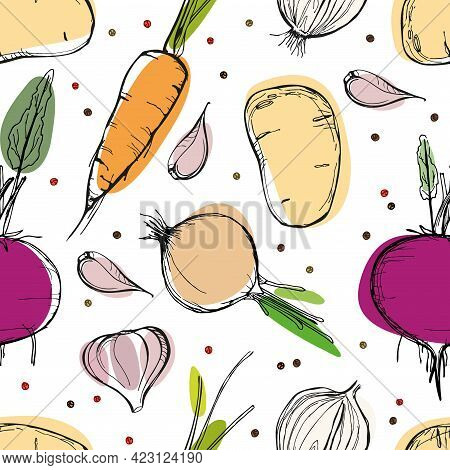 Vegetables Seamless Pattern. Vegetarian Healthy Food Vector Texture. Organic Food Sketch Style Repea