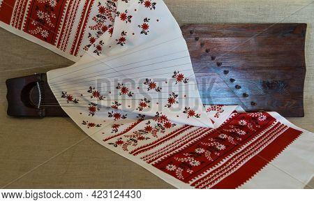 An Ancient Slavic Folk Stringed Musical Instrument - Gusli - Against A Background Of Gray Linen, Cov