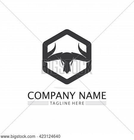 Bull Buffalo Head, Cow, Animal  Mascot Logo Design Vector For Sport Horn Buffalo, Animal, Mammals, H