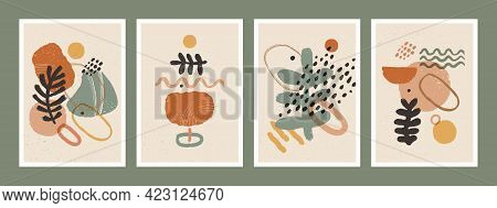 Abstract Art Minimalist Posters Set. Scandinavian Abstract Organic Composition In Natural Earthy Col