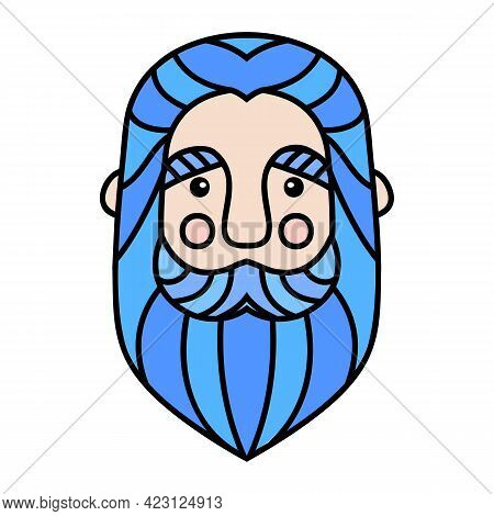 Blue Beard. Men With Beard And Mustache