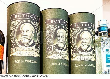 Samara, Russia - June 6, 2021: Botucal Reserva Exclusiva Rum From Venezuela On The Shelf At The Supe