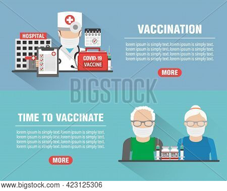 Medical Design Flat Banners Set With Hospital And Doctor Icon. Vaccination Coronavirus Covid-19. Tim