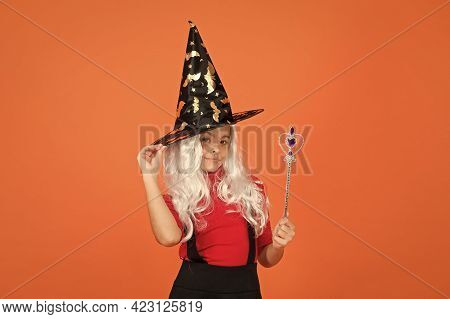 Happy Witch Girl With Magic Wand Wear Costume Of Wizard On Halloween Party, Halloween Enchantment