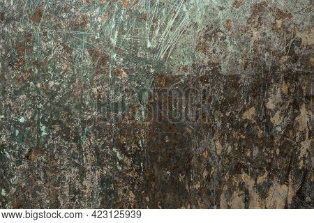 Abstract Sratched Oxidated Copper Metal Surface Background