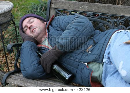 Homeless Man - On Park Bench