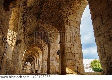 Passage Inside Of Medieval Castle Kizkalesi, Near Kizkalesi, Turkey. There Are Stone Arch Colonnade