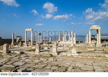 Panoramic View Onto Remains Of Buildings In Laodicea, Ancient City Near Denizli, Turkey. There Are R