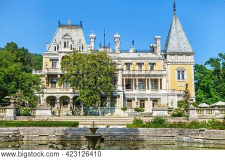 Facade Of Massandra Palace & Its Park. Complex Was Built At End Of Xix Century. Now It's Popular Tou