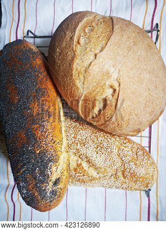 Bread. Homemade Bread. Organic Bread. Three Kinds Of Bread On Table