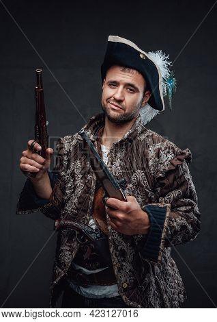 Pirate Bandit With Handguns And Smug Face