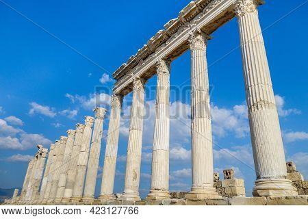 Close Up View Onto Street Colonnade In Laodicea, Ancient City Near Denizli, Turkey. All Columns Made