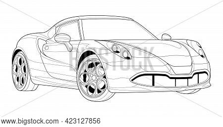 Coloring Page Line Art For Book. Black Contour Sketch Illustrate Isolated On White Background. Vecto