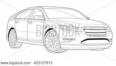 Adult Coloring Page For Book And Drawing. Black Contour Sketch Illustrate Isolated On White Backgrou