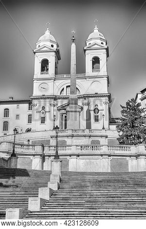 Church Of Trinita Dei Monti, Iconic Landmark At The Top Of The Spanish Steps In Piazza Di Spagna, On