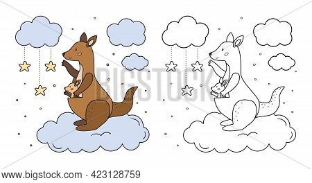 Coloring Page For Preschool Children. Mother Kangaroo And Her Baby On Cloud. Cute Cartoon Animal Cha