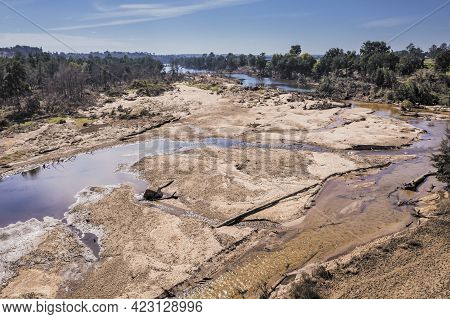 Drone Aerial Photograph Of The Hawkesbury River After Severe Flooding In Yarramundi Reserve In The H