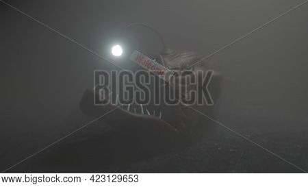 Angler Fish On Dark Blue Ocean Water Welcome Trap 3d Illustration.
