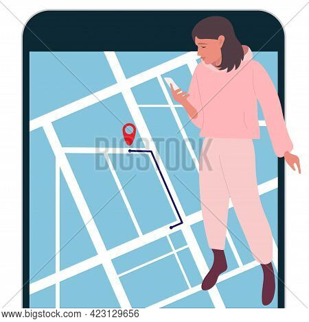 Gps Navigator. Girl Looks At Mobile Phone Maps. Finding Right Place In Map. Female Character Using M