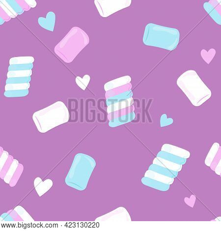Marshmallow Pattern. Sweet White, Pink And Blue Marshmallow Desserts. Vector Seamless Illustration.