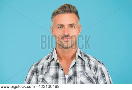 Because Its Your Hair. Middle Age Man With Grey Hair. Handsome Guy With Unshaven Facial Hair. Hairca