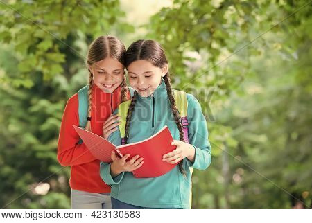 Knowledge Is Seed That Grows When You Read. Happy Children Read Book Outdoors. Summer Reading List.
