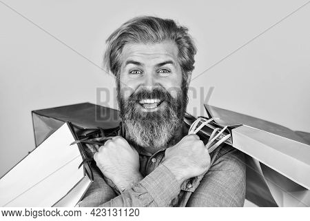 Perfect Day. Bearded Brutal Man Hold Packages. Ready To Celebrate Holidays. Male Fashion Sale. Savin