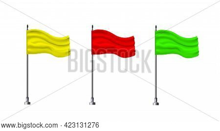 Set Mock Up Textile Waving Empty Multicolor Flags Isolated On White Background. Realistic Objects On